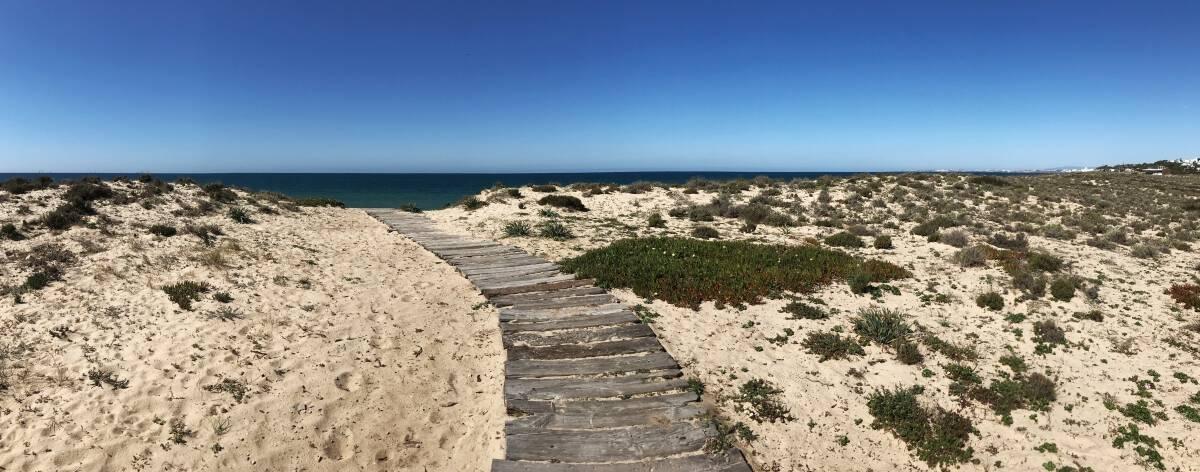Küstenwanderung Algarve Etappe 1 08 Dünenlandschaft an der Algarve