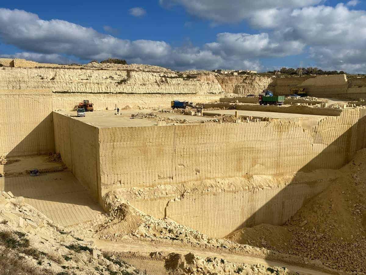 Malta und Gozo aus Kalkstein erbaut Steinbruch auf Gozo