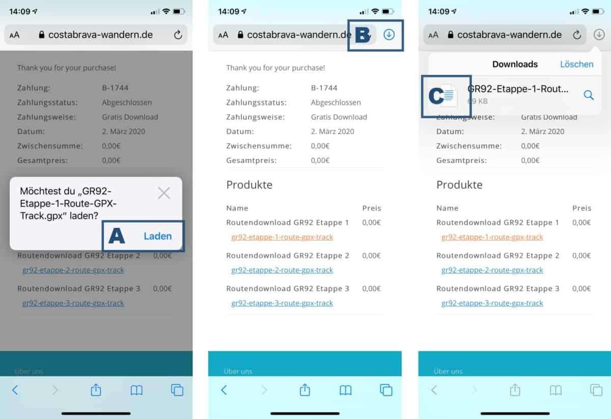 Viewranger App Anleitung GPX Dateien auf iPhone öffnen Teil 1