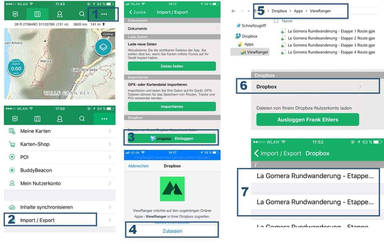 Viewranger App Anleitung GPX Dateien via Dropbox importieren in sieben Schritten