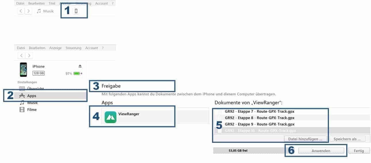 Viewranger App Anleitung GPX Dateien via iTunes importieren Teil 1