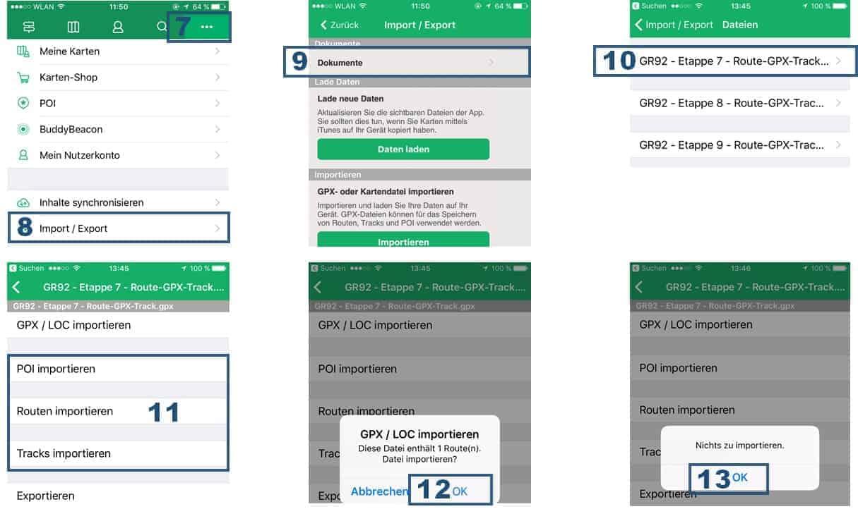 Viewranger App Anleitung GPX Dateien via iTunes importieren Teil 2