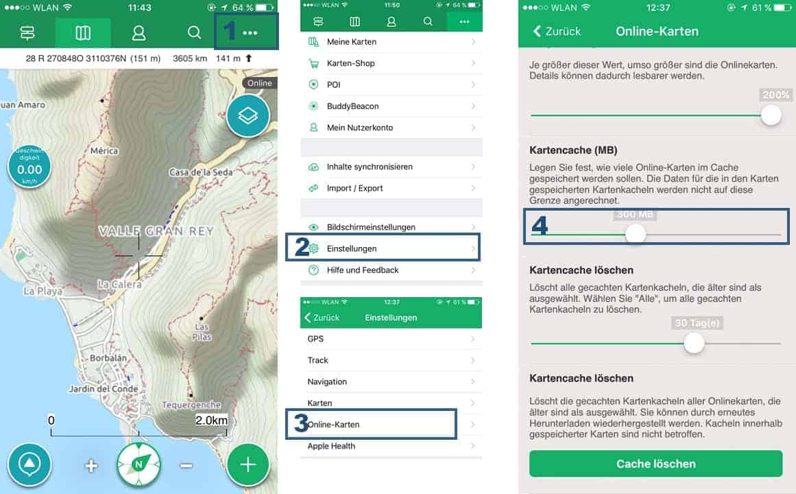 Viewranger App Anleitung zum Einstellen der Kartencache Grösse