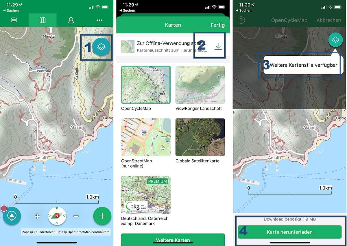 Viewranger App Anleitung zum Kartendownload 2020