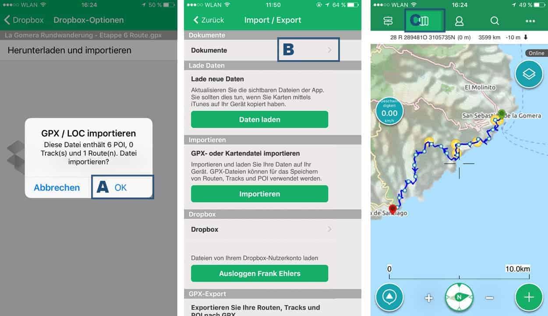 Viewranger App GPX Datein importieren App interne Dateiablage unter Dokumente Routen anzeigen