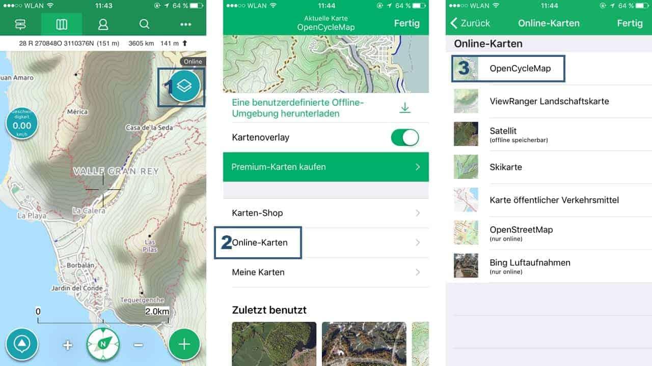 Viewranger App Kartenauswahl wir empfehlen OpenCycleMaps