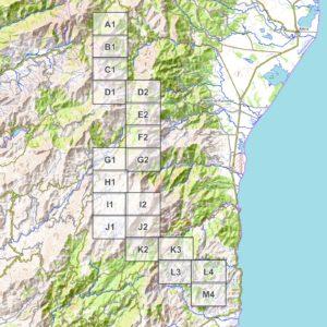 Vorschau PDF Wanderkarte Korsika GR 20 Teil 2 Blattübersicht