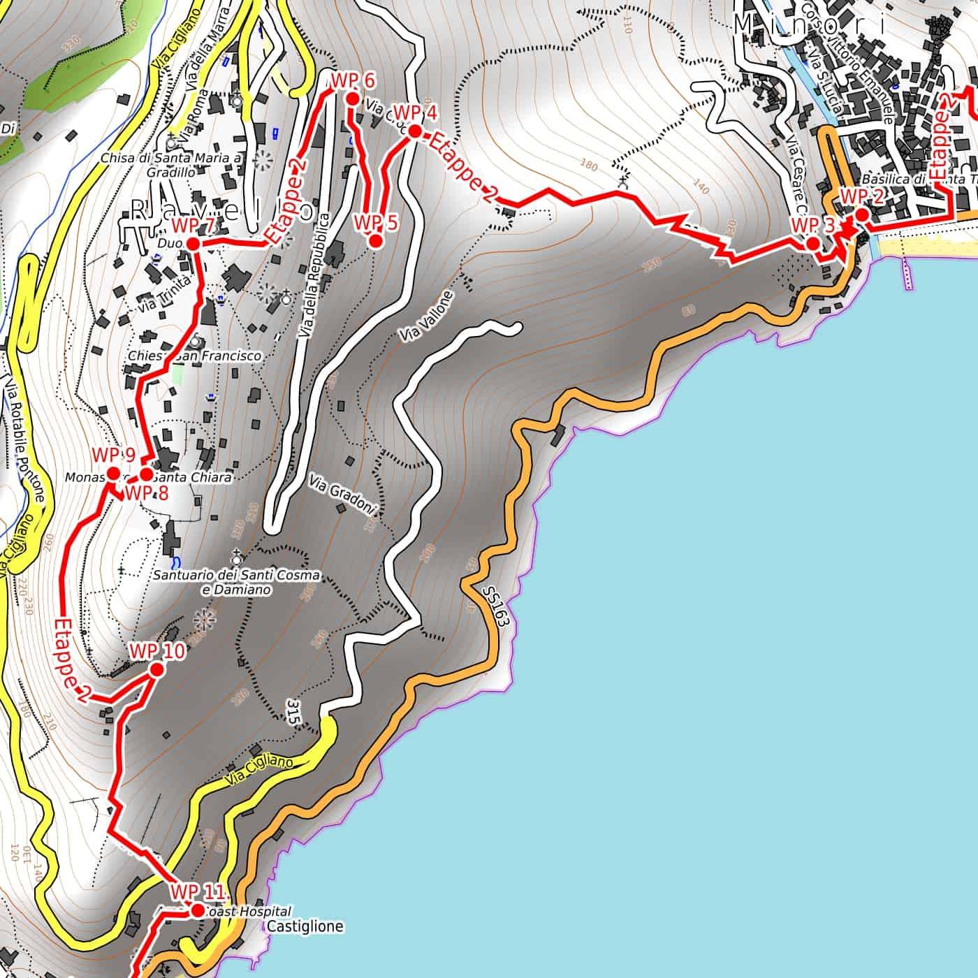 Tour Costiera Amalfitana Cartina.Costiera Amalfitana Pdf Cartina Escursionistica Da Scaricare 1 15 000 Wanderndeluxe