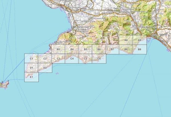 Vorschau pdf Wanderkarte Amalfiküste Blattübersicht