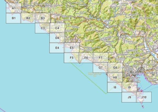 Vorschau pdf Wanderkarte Cinque Terre Blattuebersicht