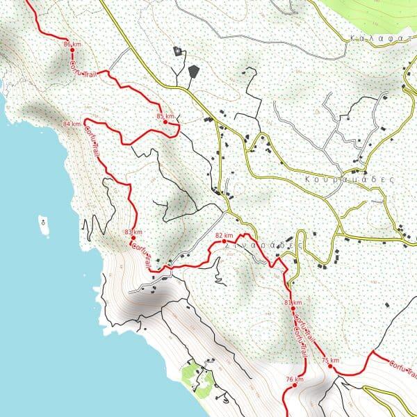 Vorschau pdf Wanderkarte Corfu Trail Auflösung 300 dpi