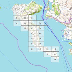 Vorschau pdf Wanderkarte Corfu Trail Blattübersicht