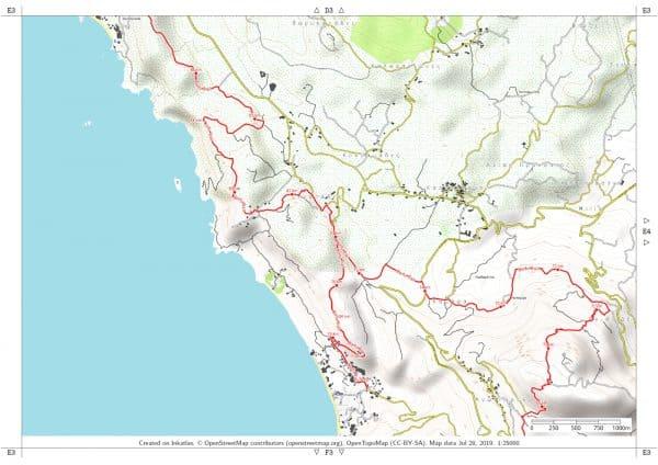 Vorschau pdf Wanderkarte Corfu Trail Blatt E3 mit Rahmen