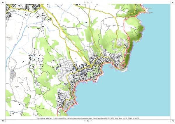 Vorschau pdf Wanderkarte Costa Brava Teil 2 Blatt H2 mit Rahmen