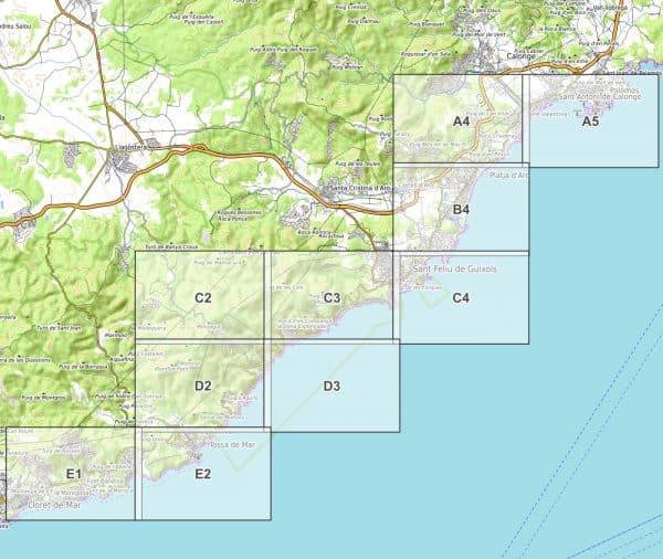 Vorschau pdf Wanderkarte Costa Brava Teil 3 Blattübersicht