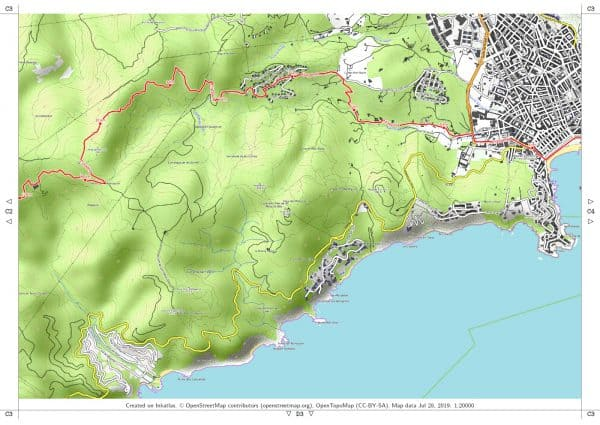 Vorschau pdf Wanderkarte Costa Brava Teil 3 Blatt C3 mit Rahmen