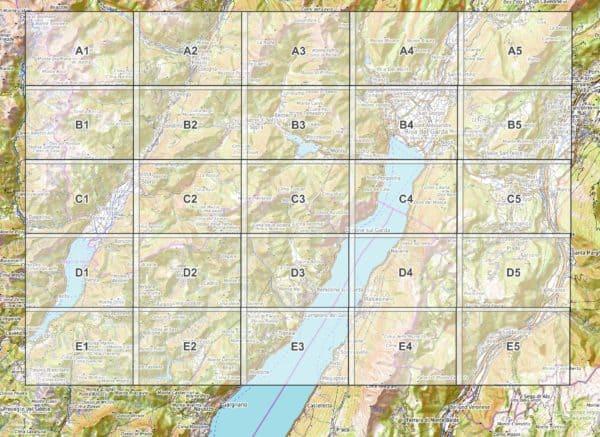 Vorschau pdf Wanderkarte Gardasee Norden Blattuebersicht