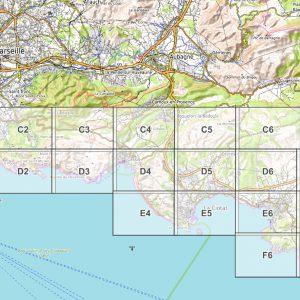Vorschau pdf Wanderkarte Küstenwanderweg Marseille Blattübersicht