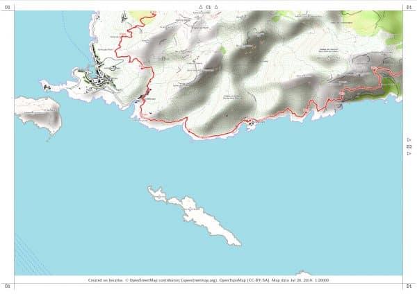 Vorschau pdf Wanderkarte Küstenwanderweg Marseille Blatt D1 mit Rahmen