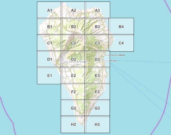 Vorschau pdf Wanderkarte La Palma Blattuebersicht