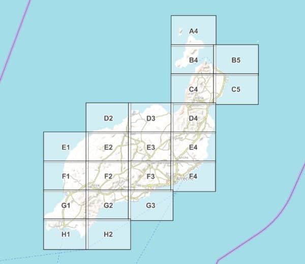 Vorschau pdf Wanderkarte Lanzarote Blattuebersicht