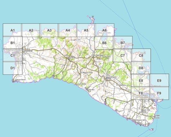 Vorschau pdf Wanderkarte Menorca GR 223 Teil 1 Blattübersicht