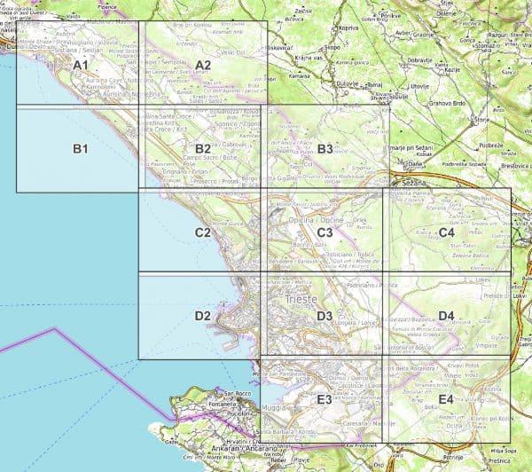 Vorschau pdf Wanderkarte Triest und Umgebung Blattübersicht