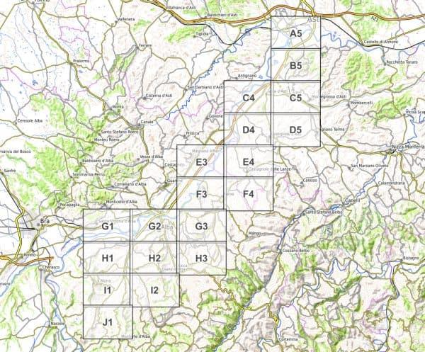 Vorschau pdf Wanderkarte Weinwandern Piemont Blattübersicht